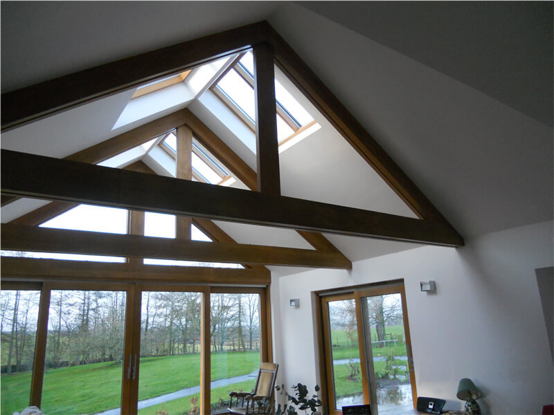 Oak trusses and sliding doors